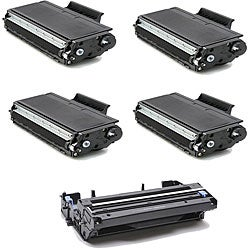 Brother TN580 Compatible Black Toner Cartridges and 1 DR510 Drum Unit (Pack of 5)