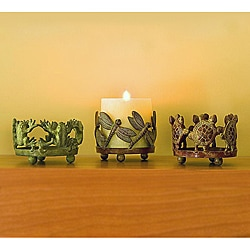 Cast Brass Indian Garden Pillar Candle Holders (Set of Three)