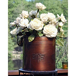 Copper Finish Round Metal Planter (India)