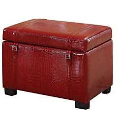 Bell Red Crocodile Bycast Storage Ottoman