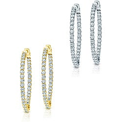14k Gold 3-3/4ct TDW Trellis Style Diamond Hoop Earrings (H-I, SI1-SI2)