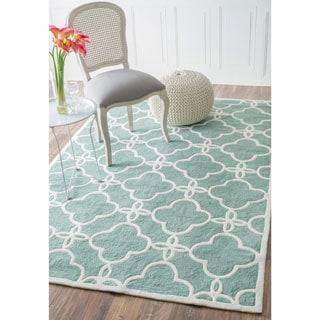 nuLOOM Handmade Indoor / Outdoor Lattice Trellis Blue Rug (6' x 9')