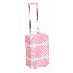 Rockland Handmade Carry-On Rolling Trunk Luggage - Pink Dot