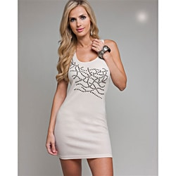 Stanzino Women's Stone Embellished Beige Tank Dress
