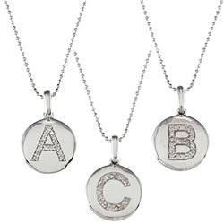 Sterling Silver 1/10ct TDW White Diamond Initial Disk Necklace