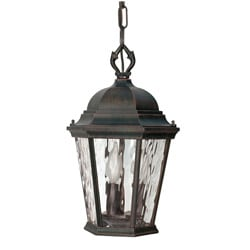 Fordham Old Penny Bronze with Clear Water Glass 3-light Hanging Lantern