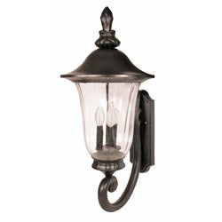 Parisian 3 Light Arm Up Textured Black Wall Sconce