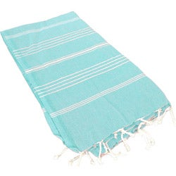 100-percent Turkish Cotton Striped Aqua Woven Coral Fouta Towel