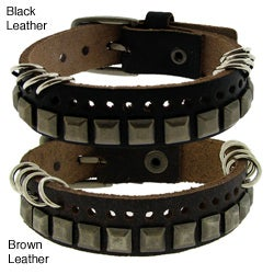 Genuine Leather with Brass Square Studs And Ring Accents Bracelet