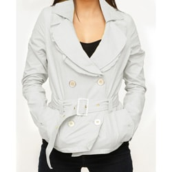Jou Jou Juniors' Silver Sateen Belted Jacket