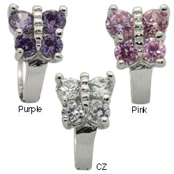 Sterling Silver Butterfly CZ Children's Huggie Earrings
