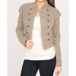 Jou Jou Juniors' Taupe Military Cropped Jacket