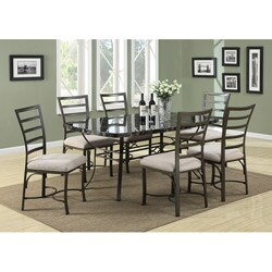 Val Black Faux Marble Top Dining Table