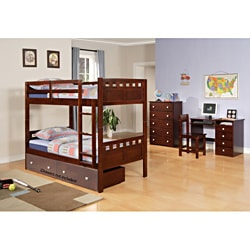 Deco Twin / Twin Bunk Bed in Cappuccino