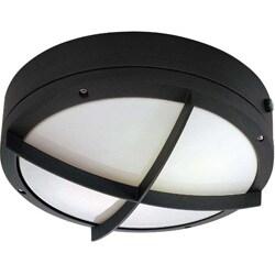 Hudson 2 Light Cross Grill Matte Black w/ White Lexan Round Wall/Ceiling Fixture