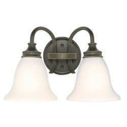 Bistro 2 Light Rustic Bronze With Satin White Wall Vanity