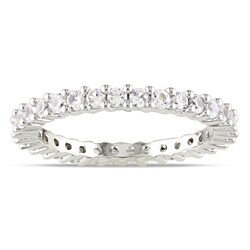 Miadora 10k White Gold 1 1/3ct TGW Created White Sapphire Eternity Ring