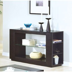 Cappuccino Veneer Sofa Table with Glass Insert & Shelf
