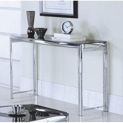 Chrome Metal / Black Tempered Glass Sofa Table
