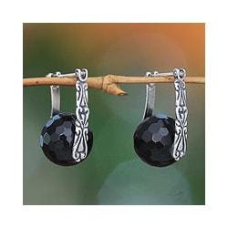 Sterling Silver 'Black Moon over Bali' Onyx Earrings (Indonesia)