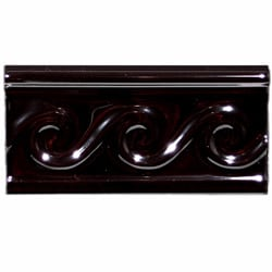 SomerTile 3x5 7/8-inch Travessa Olas Negro Ceramic Trim Tile (Pack of 8)