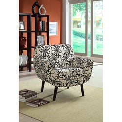 Black/ White Retro Flower Fabric Club Chair