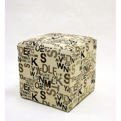 Square Ottoman in Modern Alpha Letters Fabric