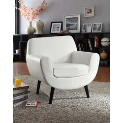 Retro Club Chair In White Vinyl with Black Legs