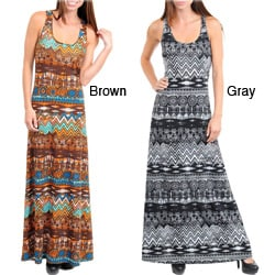 Stanzino Women's Tribal Print Racerback Maxi Dress