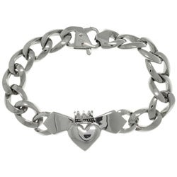 CGC Stainless Steel Celtic Claddagh Centerpiece Link Bracelet