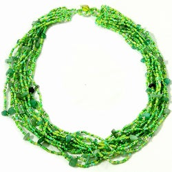 Luzy Aventurine and Glass Bead Necklace (Guatemala)