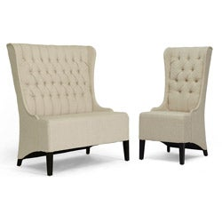 Vincent Beige Linen Loveseat Bench/ Chair Set