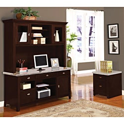 Britney 4-drawer White Marble Top Office Desk