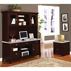 Britney 4-drawer White Marble Top Office Desk