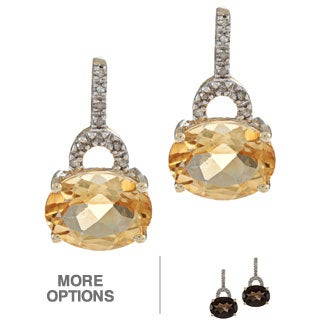 Viducci 10k Gold Gemstone and 1/10ct TDW Diamond Earrings (G-H, I1-I2)