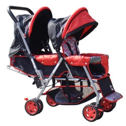 BeBeLove Tandem Stroller in Red
