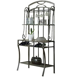 Black Faux Marble Top Baker's Rack