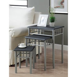 Black/ Silver Metal 3-piece Nesting Table Set