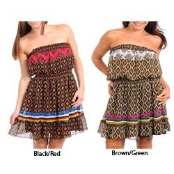 Stanzino Women's Plus Printed Strapless Dress