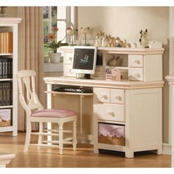 Cream/ Peach Desk with Hutch and Basket