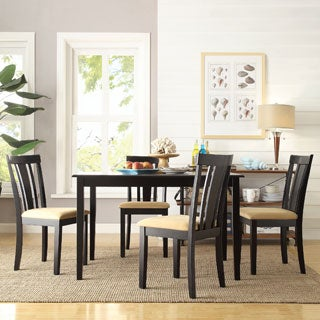 TRIBECCA HOME Wilmington Black Slat Back Cushioned 5-piece Dining Set