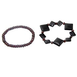 Black Agate and Garnet Stretch Bracelets (Set of 2)