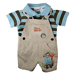 BT Kids Boy's Tan Wild Safari Shortall Set (6-9 Months)