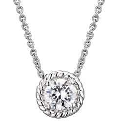 Collette Z Sterling Silver Round Cubic Zirconia Cable Edge Necklace