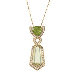 14k Gold Peridot, Lemon Quartz and 3/8ct TDW Diamond Necklace (G-H, I1-I2)