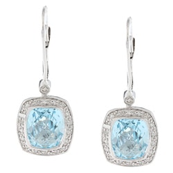14k White Gold Blue Topaz and 1/5ct TDW Diamond Earrings (G-H, I1-I2)