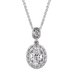 Sterling Silver and Round-cut Cubic Zirconia Drop Oval Necklace