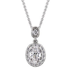 Collette Z Sterling Silver and Round-cut Cubic Zirconia Drop Oval Necklace