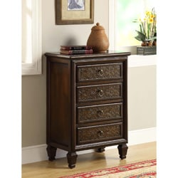 Bombay Dark Brown Engraved 4-drawer Chest