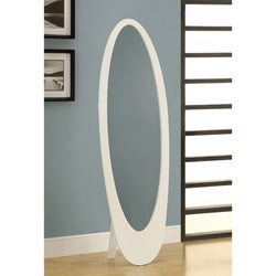 White Contemporary Oval Cheval Mirror